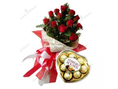 1 Doz Elegant Red Valentine with  Ferrero