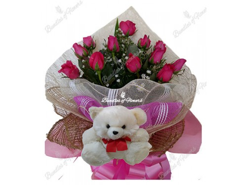 1 Dozen Roses Pink with Bear