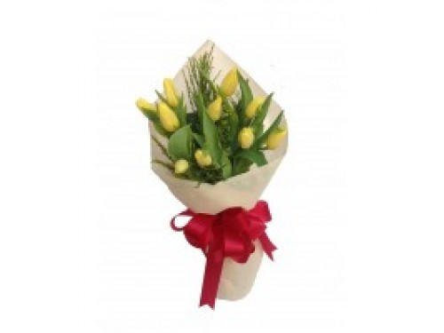 10 Yellow Tulips Bouquet
