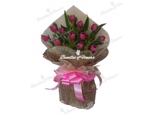 12 Fuchsia Pink Tulips