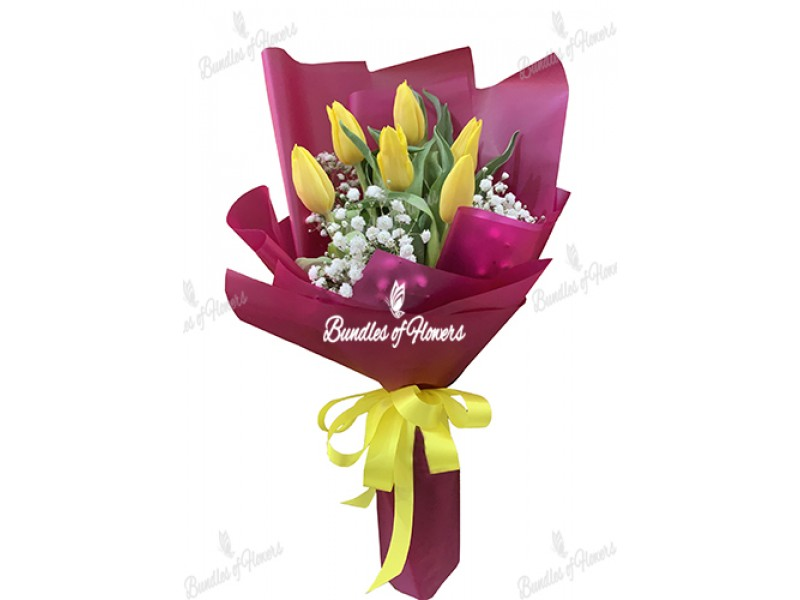 6 Yellow Tulips