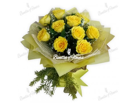 10 Imported Yellow Roses