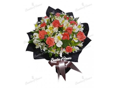 12 Pomelo Roses with Alstroemeria