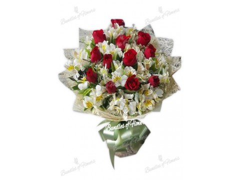 12 Red Roses with Alstroemeria