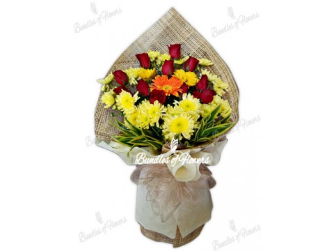12 Red roses with Yellow Mums