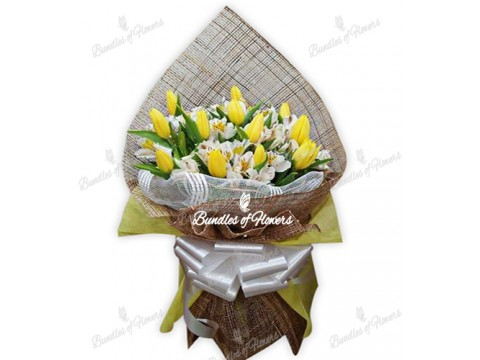 12 Yellow Tulips with Alstromeria