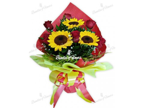 3 Sunflowers with Roses