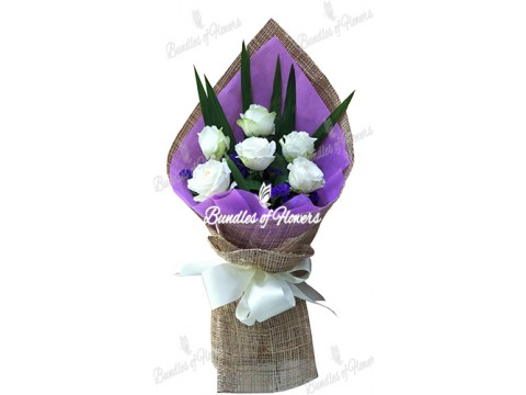 6 Imported White Roses