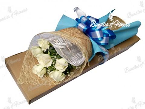 6 White Roses Boxed