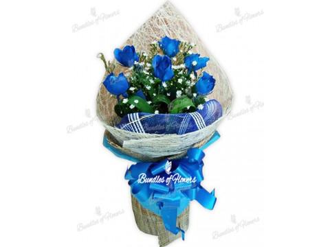 6 Pcs Blue Roses