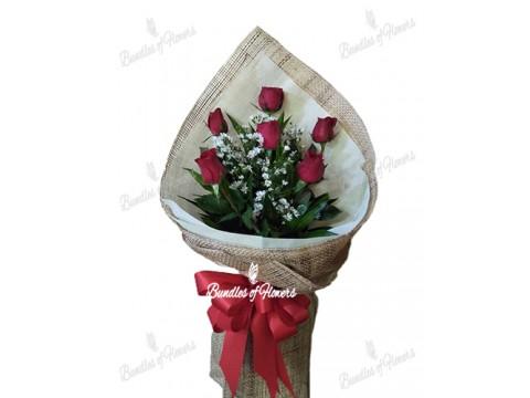 6 pcs Red Roses