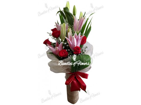 6 Red Roses and Stargazers