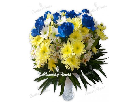 Blue Roses with mums Vase