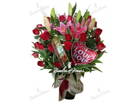 Valentines Flowers in Vase