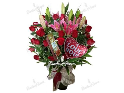 Valentines Flowers in Vase