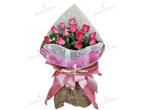 12 Roses in Pink