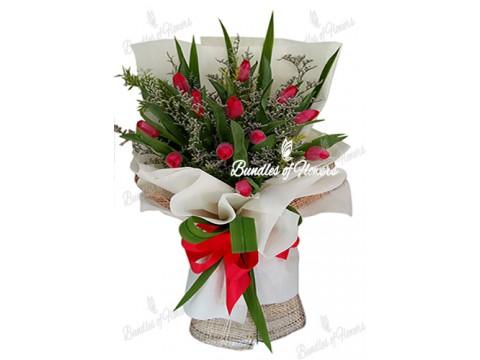 1 Dozen Red Tulips
