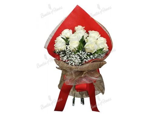 12 Ecuadorian White Roses