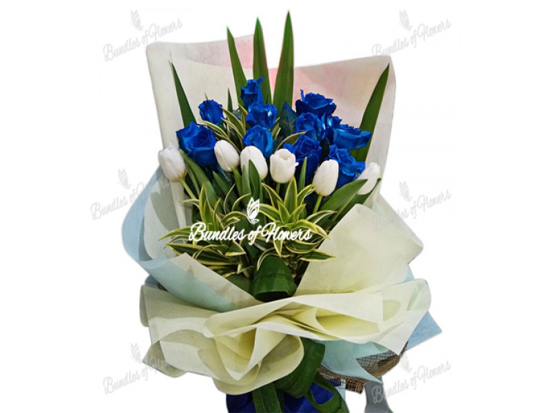 Blue Roses and White Tulips