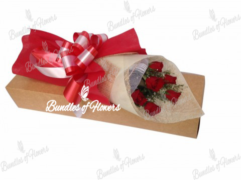 6 Red Roses Boxed
