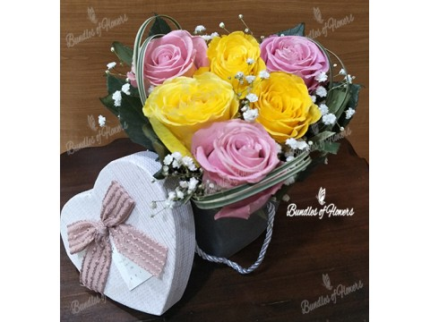 6 Yellow and Pink Roses Box