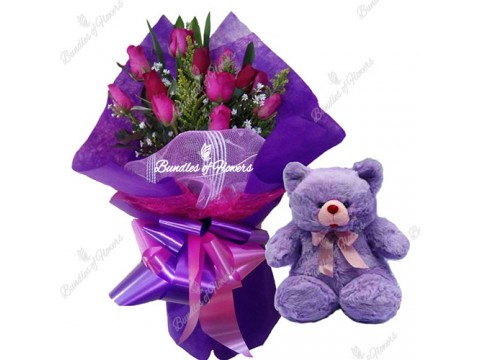Pink Purple with Bear