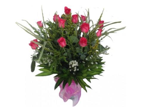 12 Pink Roses Vase