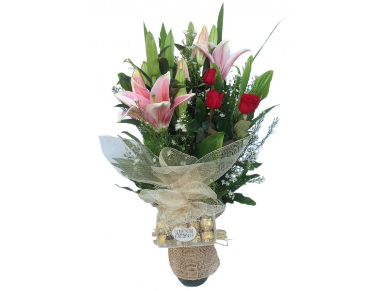 Red Roses and Stargazers in vase