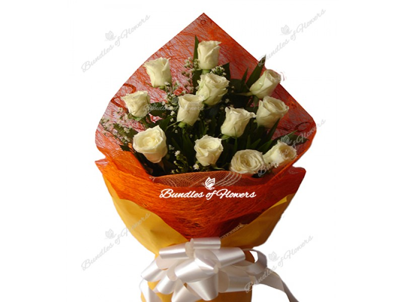 White Roses in orange
