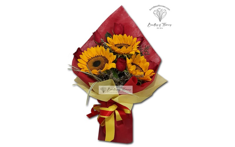 6 Roses with Sunflowers