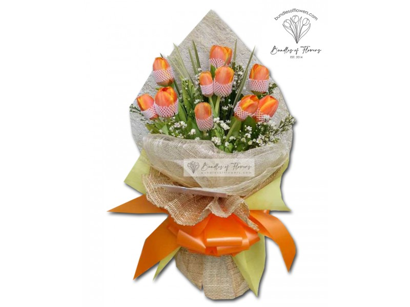 10 Orange Tulips Bouquet
