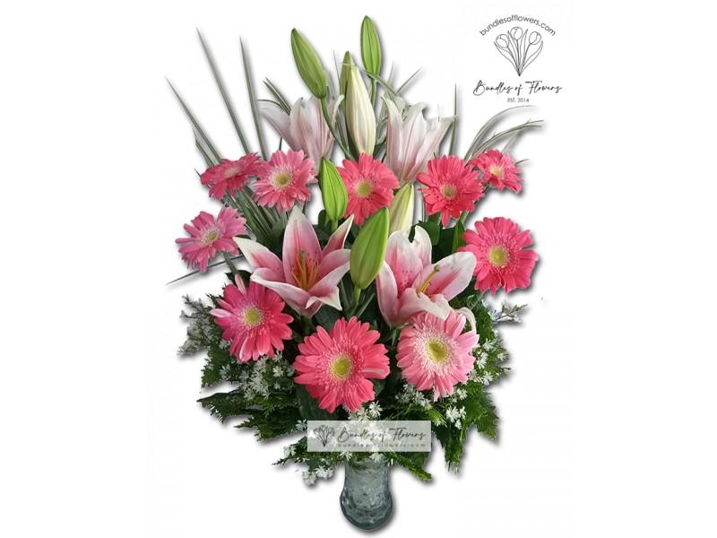 Pink Gerberas and Stargazers Vase