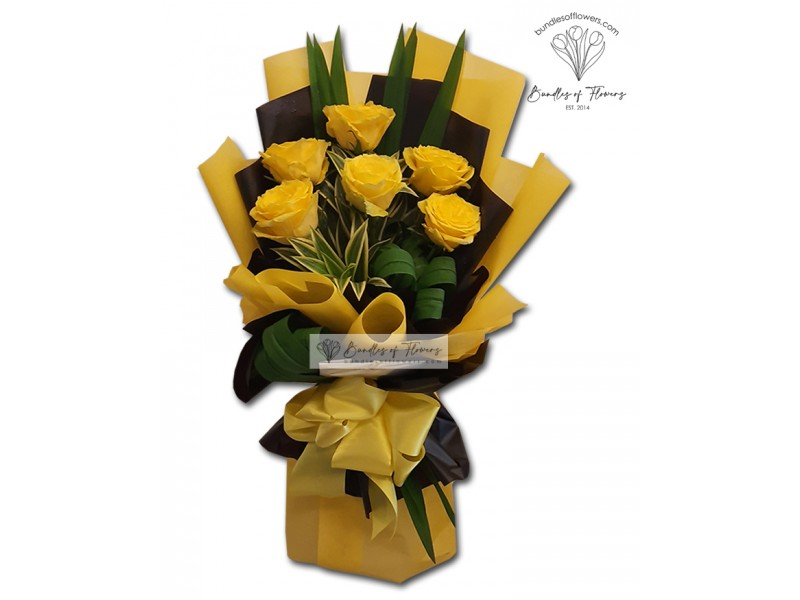6 Yellow Imported Roses