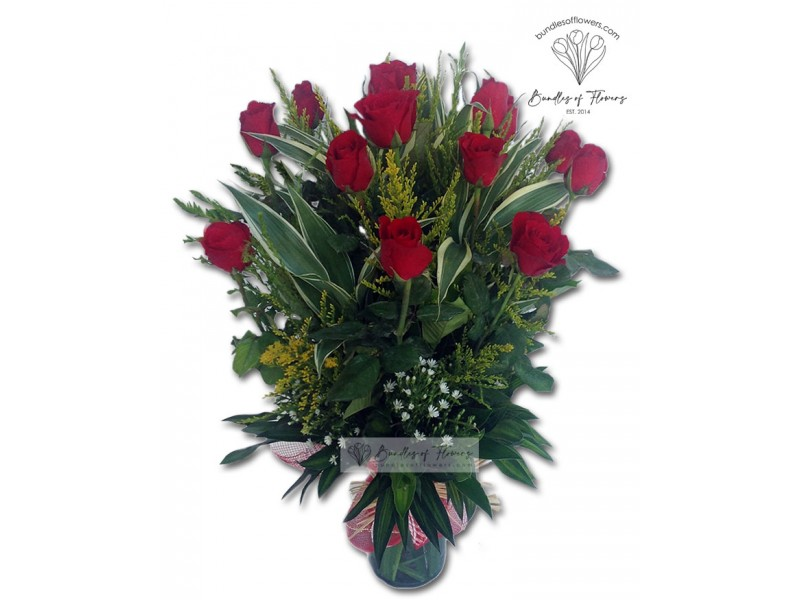 12 Red Roses Vase