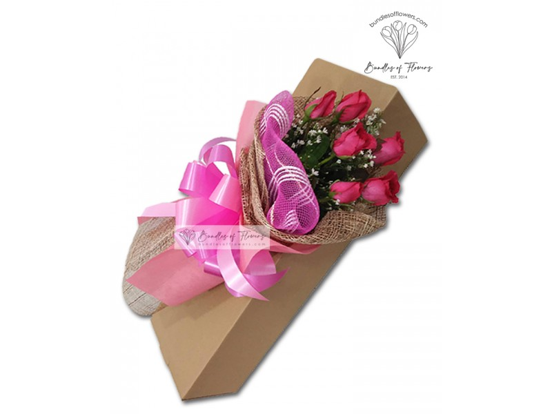 6 Pink Roses Boxed