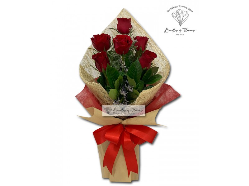 6 pcs Red Roses