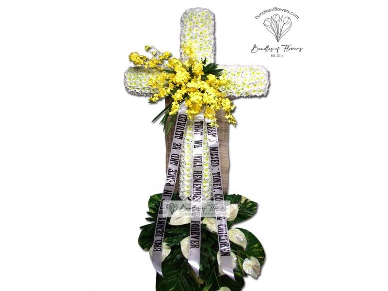 Funeral Cross Flowers 01