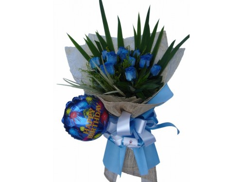 12 Blue Roses with Balloon