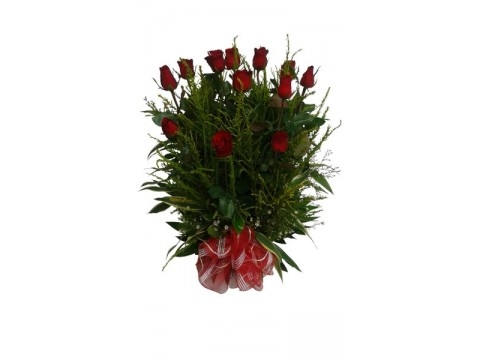 12 Red Roses Basket