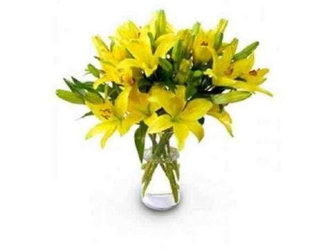 Yellow Lilies Glass Vase