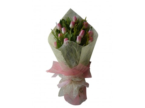 12 Pink Tulips Bouquet