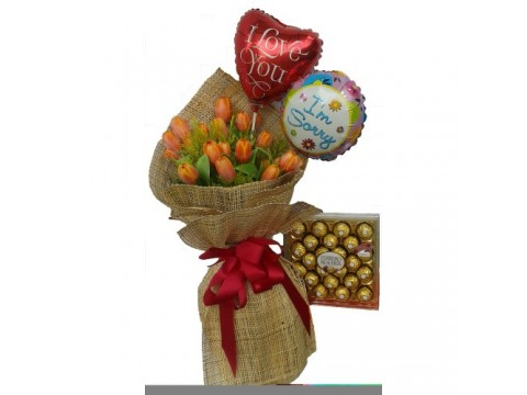 Orange Tulips with Balloon and Choco