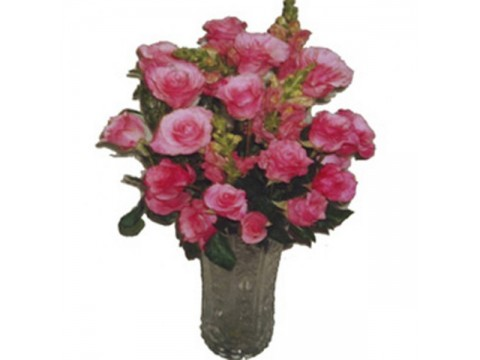 Pink Roses Glass Vase