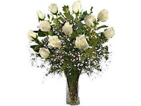 White Roses Glass Vase