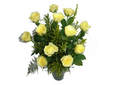 Yellow Roses Glass Vase
