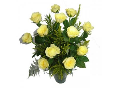 Yellow Roses Glass Vase