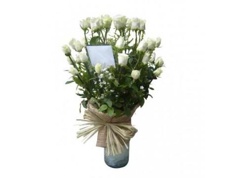 12 White Roses Vase