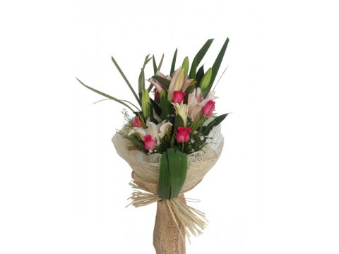 Stargazers with Pink Roses