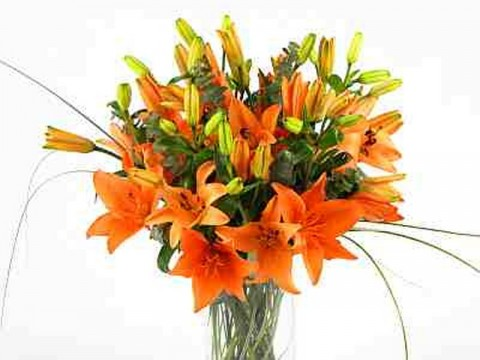Orange Lilies Glass Vase