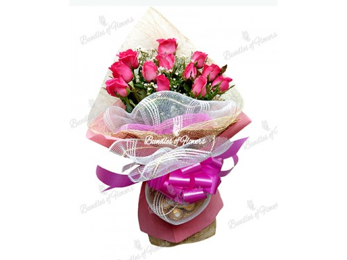 1 Doz Pink Roses with Choco